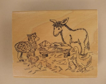 Manger Scene Rubber Stamp, wooden block and rubber foam Christmas stamp, baby Jesus with animals, new or barely used stamp