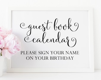 Guest Book Calendar Printable. Please Sign Our Guest Book Sign. Wedding Guestbook Sign. Guest Book Sign Printable. Wedding Guest Book Sign.