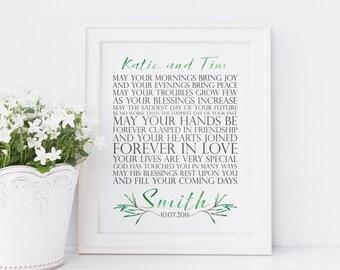 Personalized Wedding Gift. Printable Wedding Gift. Irish Wedding Blessing. Engagement Gift. Anniversary Gift. Wedding Printables.