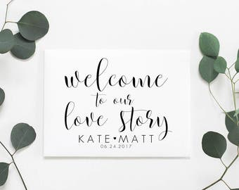 Welcome To Our Love Story. Welcome To Our Wedding Sign. Personalized Wedding Sign. Wedding Signs. Wedding Ceremony Sign. Love Story Sign.