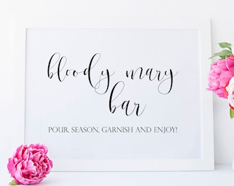 Printable Bloody Mary Bar Sign. Bloody Mary Printable. Bloody Mary Sign. Bridal Shower Bar Sign. Bridal Shower Bar Printable. Bar Sign.