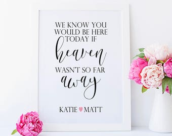 We Know You Would Be Here Today If Heaven Wasn't So Far Away. Wedding Memorial Sign. Wedding Memory Sign. In Memory of Wedding.