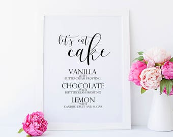 wedding cake flavour sign custom cake flavor wedding reception sign print dessert menu 22662