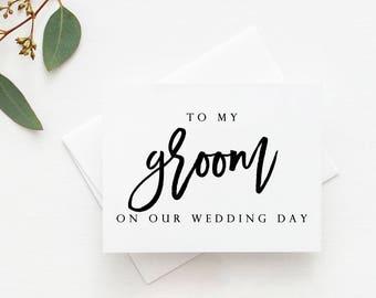 vows card to my handsome groom husband card groom card wedding day card  SKU: LNWD34H