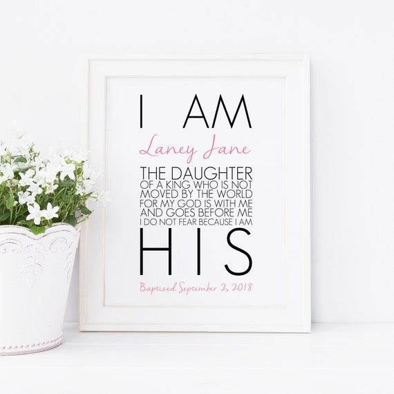 I Am The Daughter Of A King Printable Personalized Quote Wall Etsy