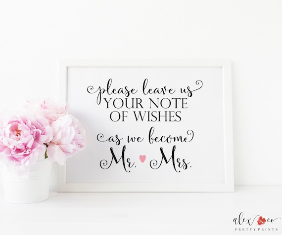 Wedding Notes Wedding Wish Cards Wedding Wishes Guest Book Alternative Guest Book Ideas Guest Book Sign Personalized Wedding Sign