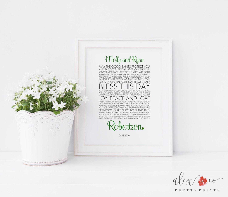 Personalized Irish Wedding Blessing Printable. Irish Wedding | Etsy
