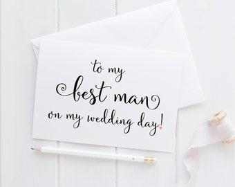 Best Man Wedding Card. Best Man Card. To My Best Man On My Wedding Day Card. Wedding Card For Best Man. Wedding Party Cards. Wedding Cards.