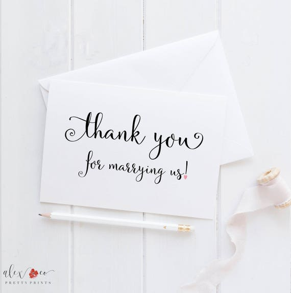 Thank You For Marrying Us Card Pastor Wedding Card Wedding Card For Minister Officiant Card Wedding Day Cards Wedding Thank You Card