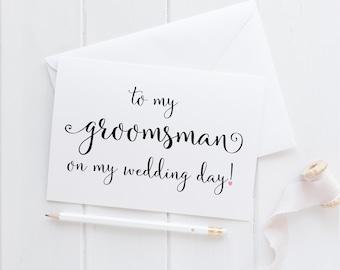 Groomsman Wedding Card. Groomsman Card. To My Groomsman Card. To My Groomsman On My Wedding Day Card. Wedding Card For Groomsman.