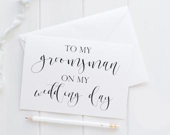 Groomsman Card. To My Groomsman Card. To My Groomsman On My Wedding Day Card. Wedding Card For Groomsman. Groomsman Wedding Card.