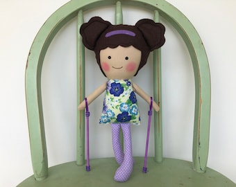 Special Needs handmade rag doll with walking sticks, perfect for imaginative play!