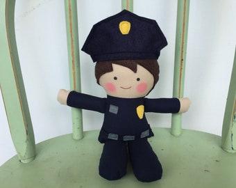 Policeman, Policewoman, rag doll, perfect for imaginative play!