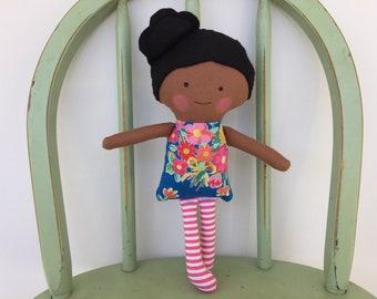 Biracial, handmade rag doll, perfect for imaginative play!