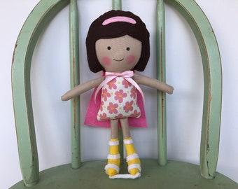Special Needs Super Hero Girl, Handmade rag doll, leg braces, perfect for imaginative play!