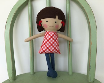 Special Needs Handmade rag doll with Cochlear Implants, perfect for imaginative play!