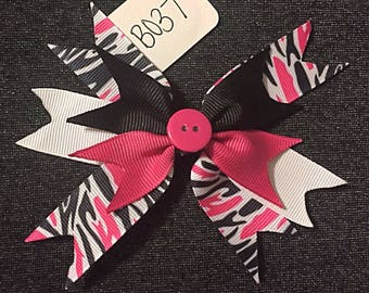 Pink and Black Zebra Print Spiked Bow