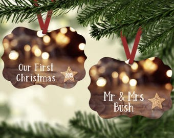 Our First Christmas, mr and mrs, newlywed ornament, ornament, wedding gift, gift for couple ,wedding, Christmas