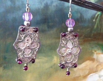 Filigree & Garnet Earrings