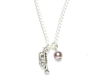 Trumpet Necklace | Trumpet Charm Necklace | Musical Instrument Necklace | Musician's Gift Idea