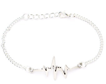 Heart Rate Bracelet | Heartbeat Charm Bracelet | Silver Plated Bracelet | Gift Boxed Bracelet