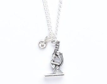 Microscope Necklace   Science Necklace   Microscope Jewellery   Charm Necklace   Scientist Gift