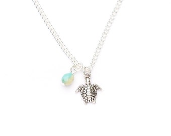 Beaded Turtle Necklace   Silver Turtle Necklace   Turtle Charm Necklace   Turtle Charm Jewellery