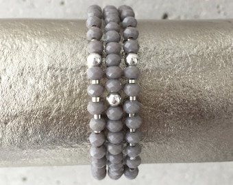 TRIO Bracelet Stack (Light Grey)