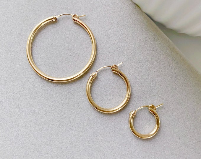 Featured listing image: NAOMI Yellow Gold Hoop Earrings (Multiple Sizes)
