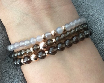 QUINSCO - Three Piece Smoky Quartz and Rose Gold Bracelet Stack
