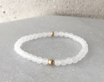 Small White Frosted Stretch Bracelet