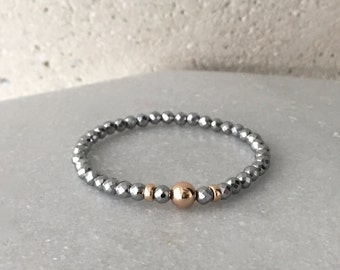 Small x Rose Gold Hematite Stretch Bracelet