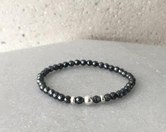 Gun-Metal x (Rose Gold or Silver) Hematite Stretch Bracelet