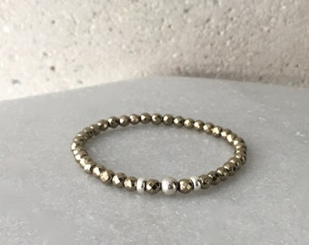 Gold x Silver Hematite Stretch Bracelet