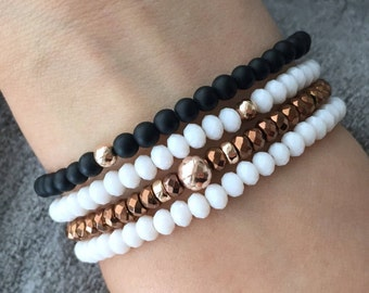 QUINSCO STACK Q008 - Four Piece White and Rose Gold Bracelet Stack