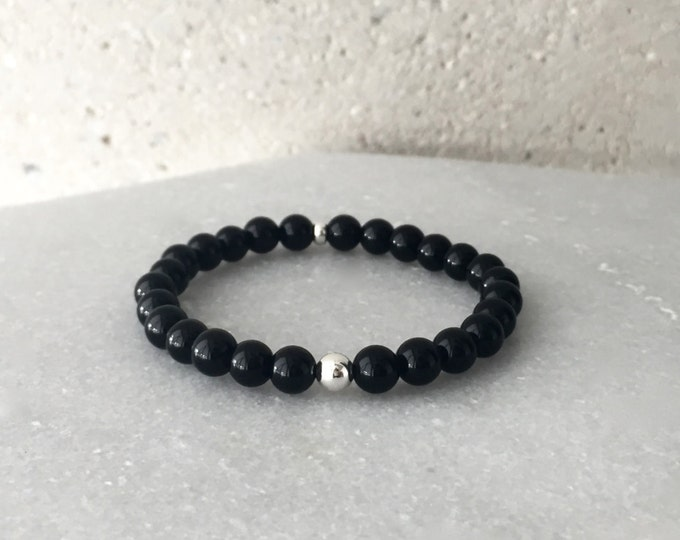 Large Black Onyx Stretch Bracelet