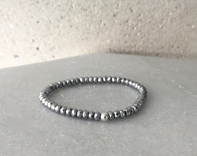 Silver Hematite Stretch Bracelet