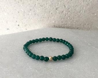 Small Jade Green Stretch Bracelet