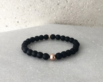 Large Matte Black Onyx Stretch Bracelet