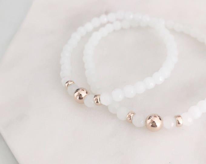 Small White Stretch Bracelet