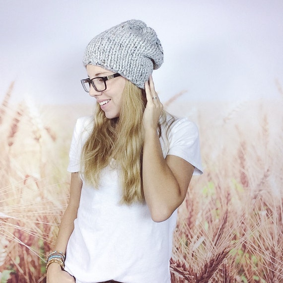 ea03e9588cd Knitted Hipster Beanie Hat for Women Chunky Knit Slouchy