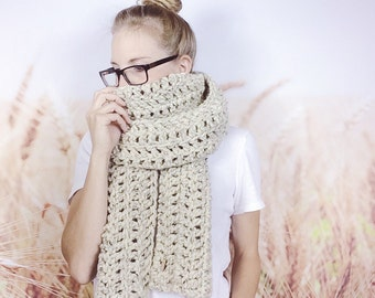 Open Ended Scarf, Crocheted Scarf, Traditional Scarf, Oversized Scarf, Wrap Scarf, Wool Scarf, Crochet Scarf, Long Scarf - {OATMEAL}