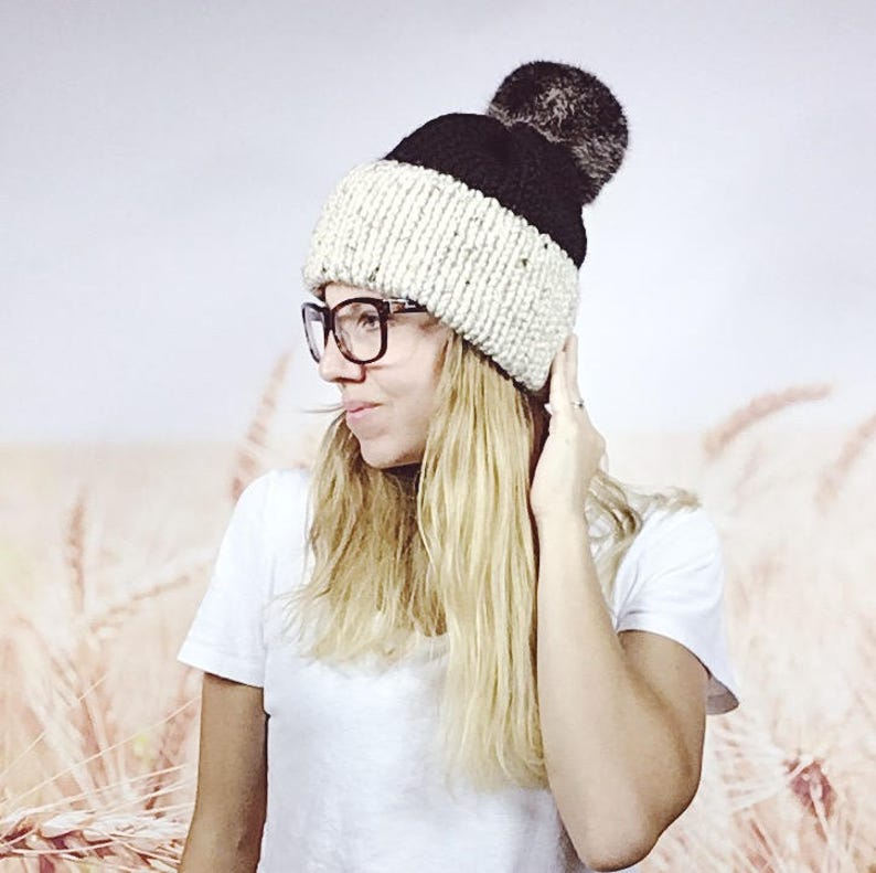 a75953327a0e7 Oatmeal and Black Color Block Double Brimmed Beanie Hat with