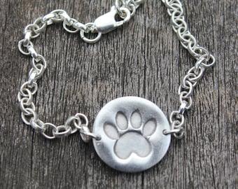 Animal print bracelet silver, cute animal bracelets, hand stamped paw print, hand stamped bracelet, animal rescue jewelry, cute paw print