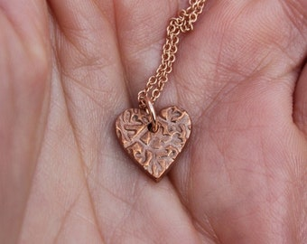 Tiny textured copper heart necklace handmade in copper on a rose gold filled necklace chain