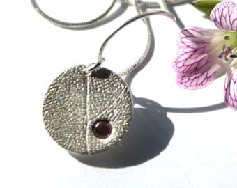 Silver garnet necklace, silver garnet pendant, rhodolite garnet, red garnet pendant, red gemstone pendant, gemstone leaf pendant, real leaf