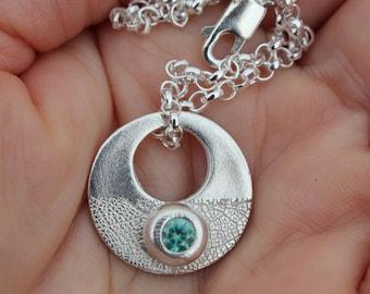 Contemporary circle pendant, moon necklace, textured pendant, gemstone pendant, teal gemstone pendant, round silver pendant