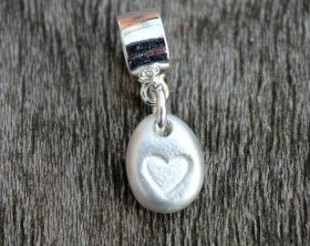 Tiny silver Pandora heart charm, handmade heart charm, tiny heart pebble charm, teeny silver heart charm, Pandora heart charm
