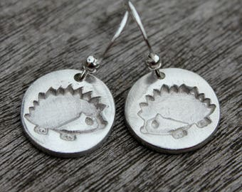Silver hedgehog earrings, handmade silver nature jewellery, hedgehog jewellery, recycled silver jewellery, handmade wildlife jewelry