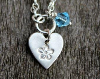 March birthday heart pendant, birthstone crystal heart pendant, March birthstone pendantt, Swarovski birthstone pendant, Swarovski crystal
